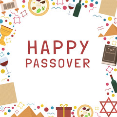 Frame with Passover holiday flat design icons with text in english