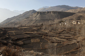 Asian mountain village and terrace fields in autumn in Lower Mustang, Nepal, Himalaya, Annapurna Conservation Area
