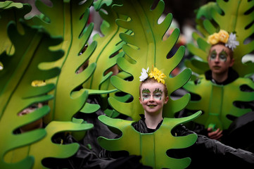 Participants are seen during the St. Patrick's Day parade in Dublin