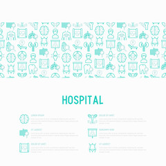 Hospital concept with thin line icons for doctor's notation: neurologist, gastroenterologist, manual therapy, ophtalmologist, cardiology, allergist, dermatologist. Vector illustration for print media.