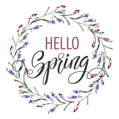 Hand drawn lettering. Watercolor flowers Background. Spring holidays. Vector Illustration EPS10