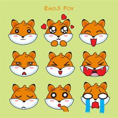 fox emoji, vixen smile icons set, vector, cartoon, design, color