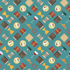 Passover holiday flat design icons seamless pattern