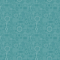 Passover holiday flat design white thin line icons seamless pattern