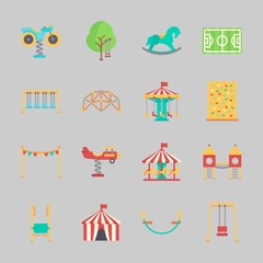 Icons about Amusement Park with amusement park, playground, horse swing, soccer field, motor swing and swings
