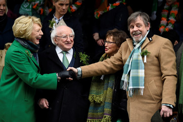 Actor Mark Hamill meets Ireland's President Michael D. Higgins and his wife Sabina at the St. Patrick's Day parade in Dublin