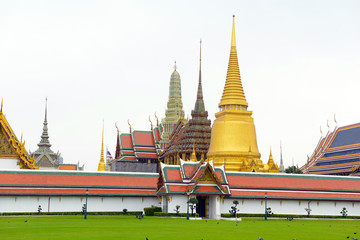 Traditional architecture at and around the Grand Palace, near the Phraya River in Bangkok Thailand