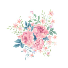 Floral background. Flower rose bouquet. Flourish floral greeting card