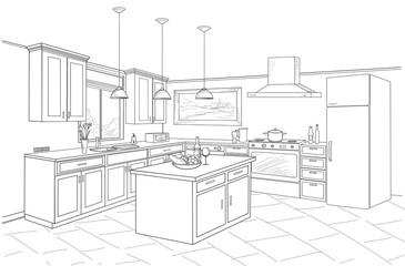 Interior sketch of kitchen room. Outline blueprint design of kitchen