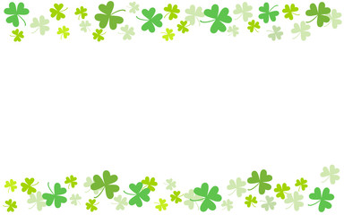 Spring background (postcard, banner, frame) with clover elements. St.Patrick 's Day. Religion and celebration.