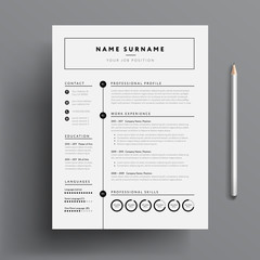 Stylish CV / Resume template - black and white minimalist design mockup