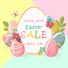 Easter sale special offer poster with eggs and spring flowers. Modern template with pastel colors.