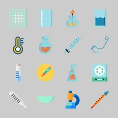 Icons about Laboratory with kipp's apparatus, separator funnel, beaker, thermometer, burner and flask