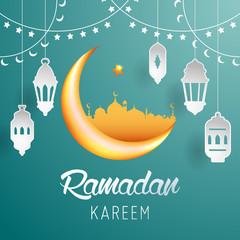 Ramadan Kareem background icon vector illustration design graphic with islamic crescent moon 3D and paper lantern.