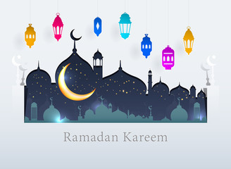 Ramadan Kareem background icon vector illustration design graphic with islamic crescent moon 3D and paper lantern.