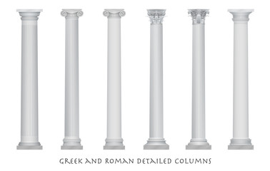 Realistic vector ancient greek rome column capitals set. Fototapete