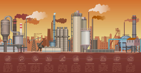 Heavy industrial factory buildings landscape. Vector illustration with infographic icons elements. Smoking pipes of factory polluting environment.