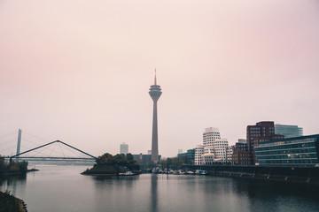 Fotomurales - Panoramic View of the media harbor (Medienhafen) Dusseldorf , Germany