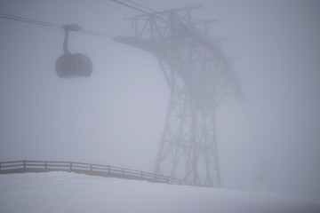 Foggy ski lift