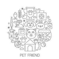 Pet friend in circle - concept line illustration for cover, emblem, badge. Pets thin line stroke icons set.