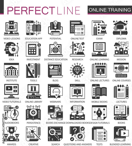 Online Modern Education Black Mini Concept Icons And Infographic