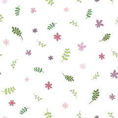 Seamless floral pattern with green blades of grass and pink flowers. Repeating texture on a white