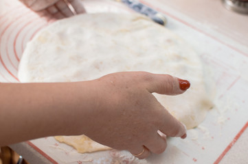 Close-up view of the hands with making homemade potstickers.