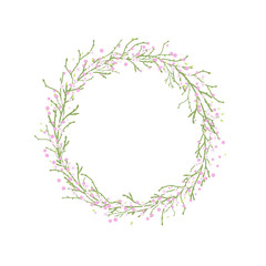 Round Wreath with green branches and pink flowers.
