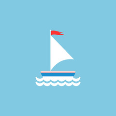 Flat white boat with sail and little waving red flag on the top. Isolated on powder blue background.