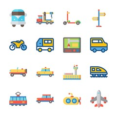 icon Transportation with airplane, car, motorbike, scooter and direction sing