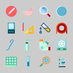 Icons about Laboratory with desiccator, loupe, measuring, separator funnel, watch glass and test tube