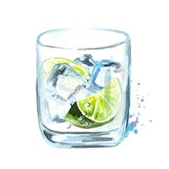 Gin with ice cubes and lime slice. Watercolor hand drawn illustration, isolated on white background