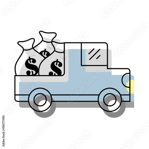 Moved Color Car Bank With Bags Cash Money And Dollar Symbol
