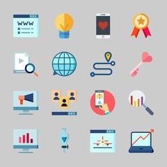 Icons about Seo with video, route, quality, viral marketing, funnel and idea
