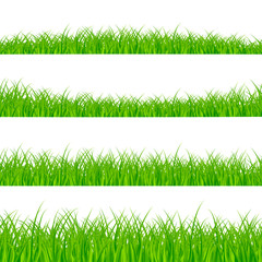 Grass Borders Set. Grass Plant Panorama. Grass border or frame texture. Vector illustration isolated on white background