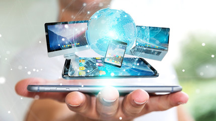 Businessman connecting tech devices and icons applications 3D rendering