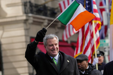 New York Mayor Bill de Blasio attends the St Patrick's Day parade in New York City