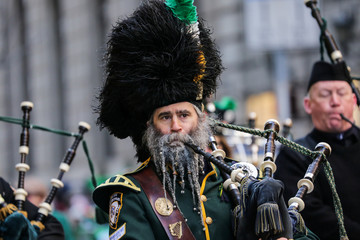 Participants march the St Patrick's Day parade in New York City