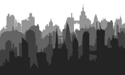 Vector image of city buildings with many different elements.