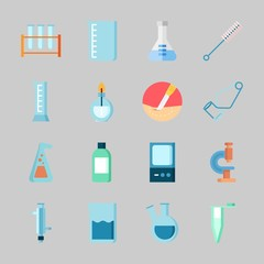 Icons about Laboratory with cylinder, jar, separator funnel, surgery, lab and flask
