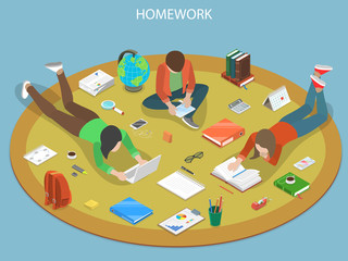 Homework flat isometric vector concept. Students are doing their homework together.