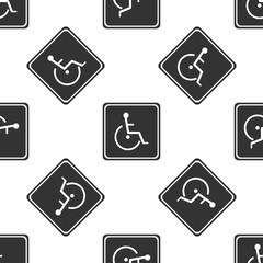 Disabled handicap icon seamless pattern on white background. Wheelchair handicap sign. Flat design. Vector Illustration