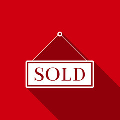 Sold sign isolated with long shadow. Sold sticker. Sold signboard. Flat design. Vector Illustration