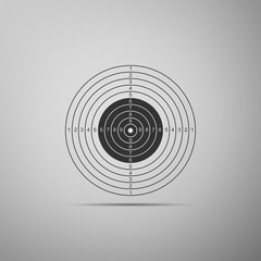 Target sport for shooting competition icon isolated on grey background. Clean target with numbers for shooting range or pistol shooting. Flat design. Vector Illustration