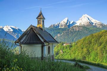 Small chapel and snow-covered Watzmann mountain in Berchtesgaden Wall mural