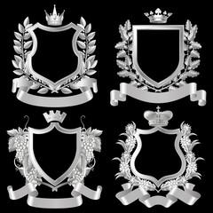 Set of white vintage design elements isolated on black