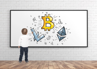 Cute little boy drawing marker crypto currency