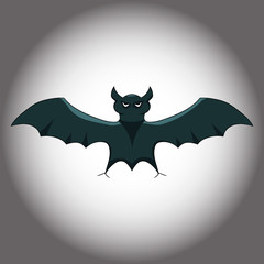 The bat on a gloomy gradient background. Vector graphics. Hand drawing.