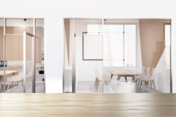 White and beige office meeting room lobby blur