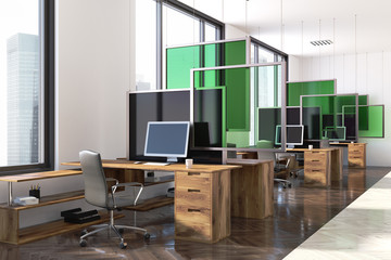 White and green modern office corner